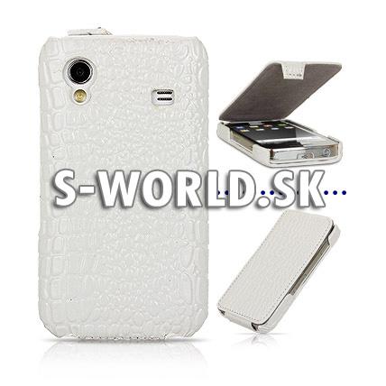 Kožený obal Samsung Galaxy Ace - Croco Flip biela 56292915f3f