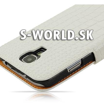 Kožený obal Samsung Galaxy S4 - Croco Wallet - biela e6b0f243f53