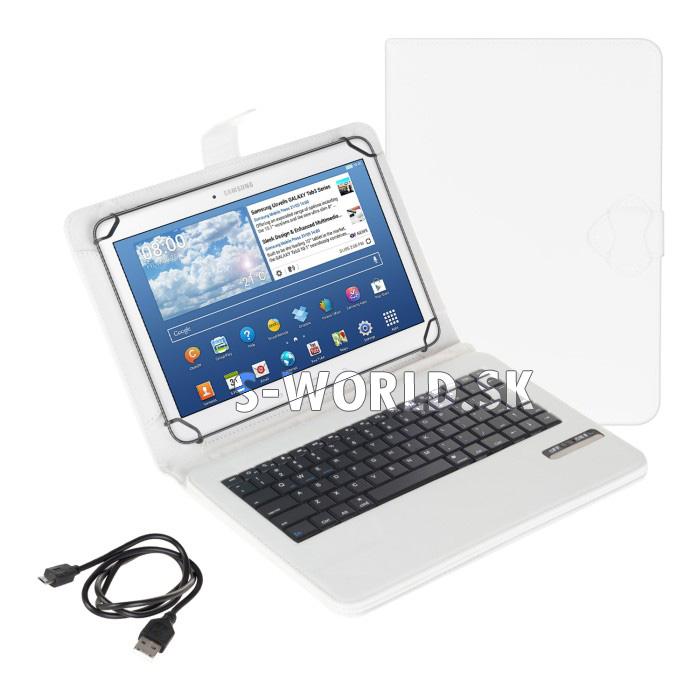 """6a2a7fb0b4496 Univerzálna bluetooth klávesnica pre 9"""" - 10.1"""" tablety - biela ..."""