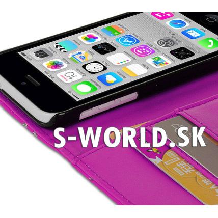 Kožený obal iPhone 5C - Diamond Wallet - ružová 8a07c517a13