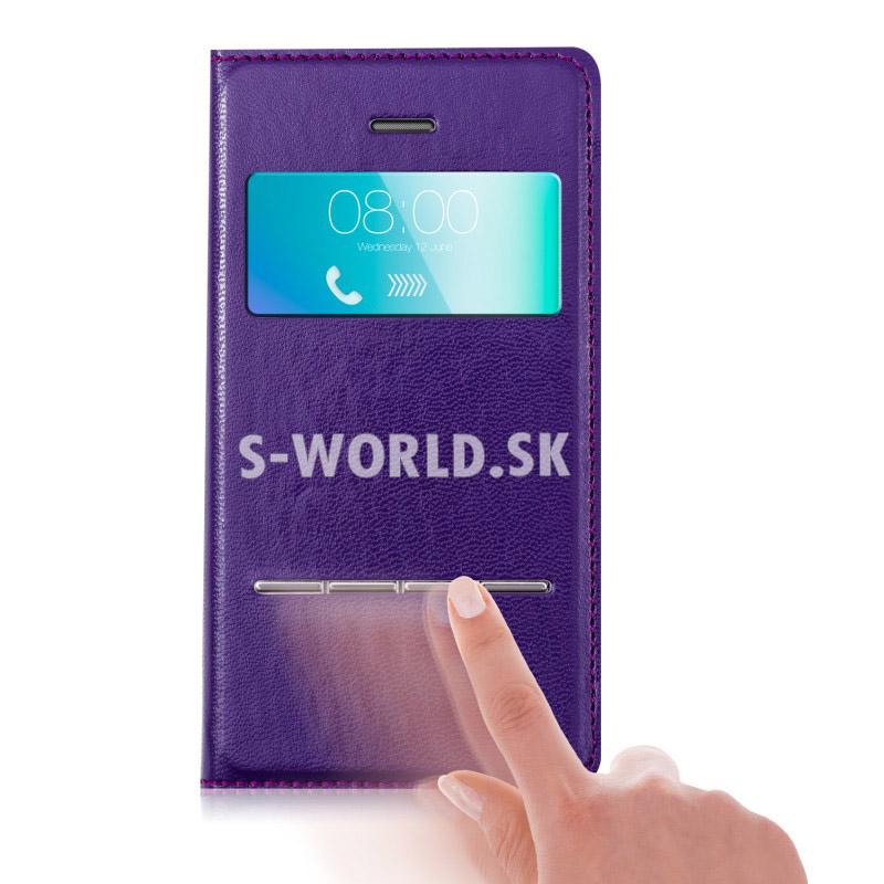 Kožený obal iPhone 4   4S - Easy View fialová 06f9b553c6e