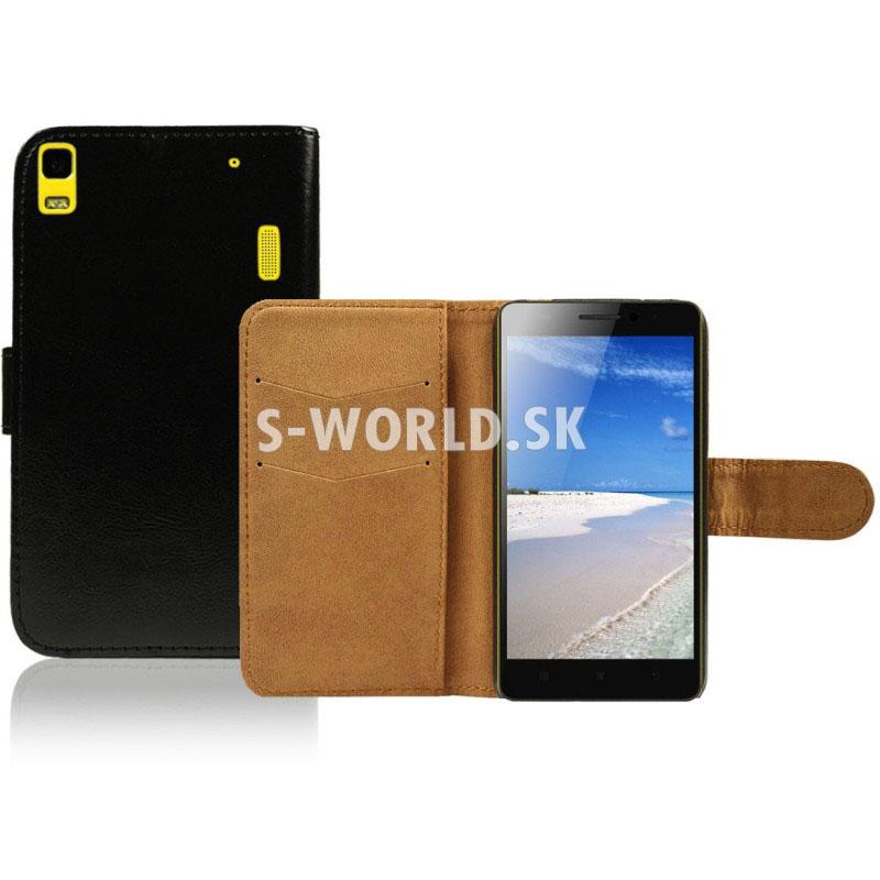 Kožený obal Lenovo K3 Note - Wallet - čierna