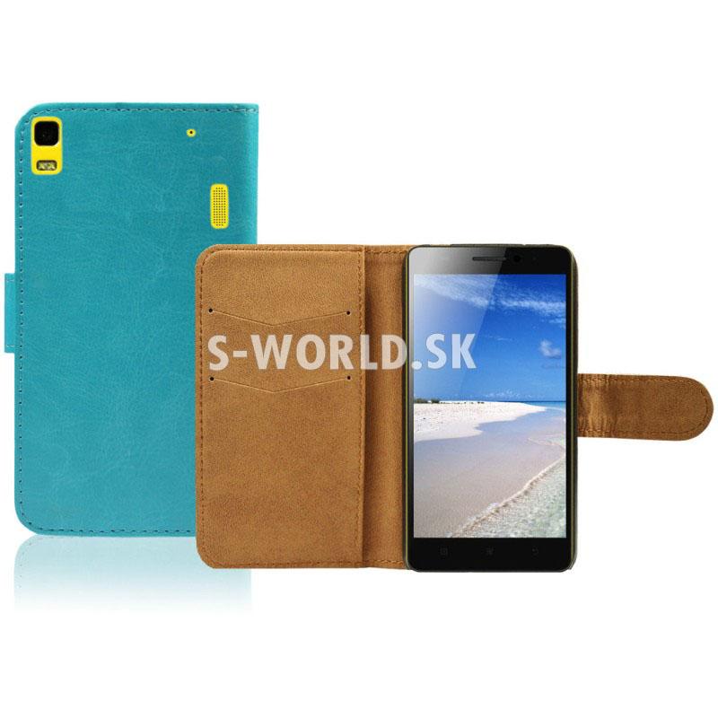 Kožený obal Lenovo K3 Note - Wallet - modrá