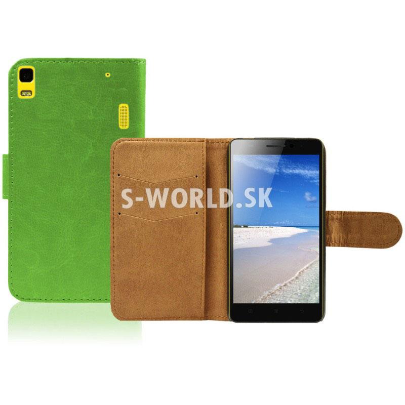 Kožený obal Lenovo K3 Note - Wallet - zelená