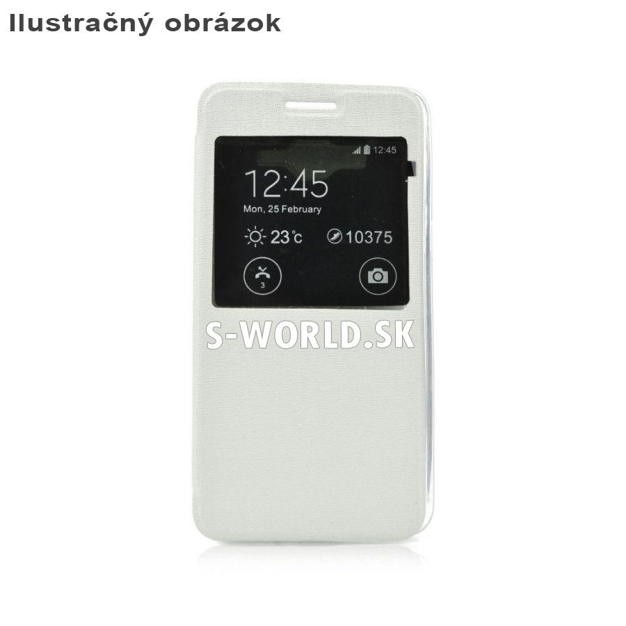 Kožený obal s okienkom pre Samsung Galaxy S6 Edge - S-View Flexi biela 48313178317