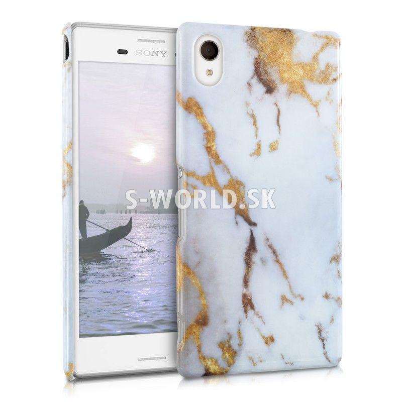 Zadný kryt Sony Xperia M4 Aqua - Mramor - bielo-zlatá  b4051446cc3