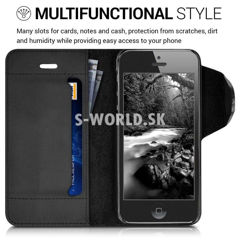 Kožený obal Apple iPhone 5   5S   SE - Kalibri Genuine - čierna 98d86a2f2f9