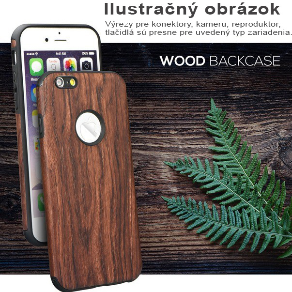 Silikónové puzdro Wood pre Apple iPhone 6   6S – tmavo-hnedá ... 305b47686bb
