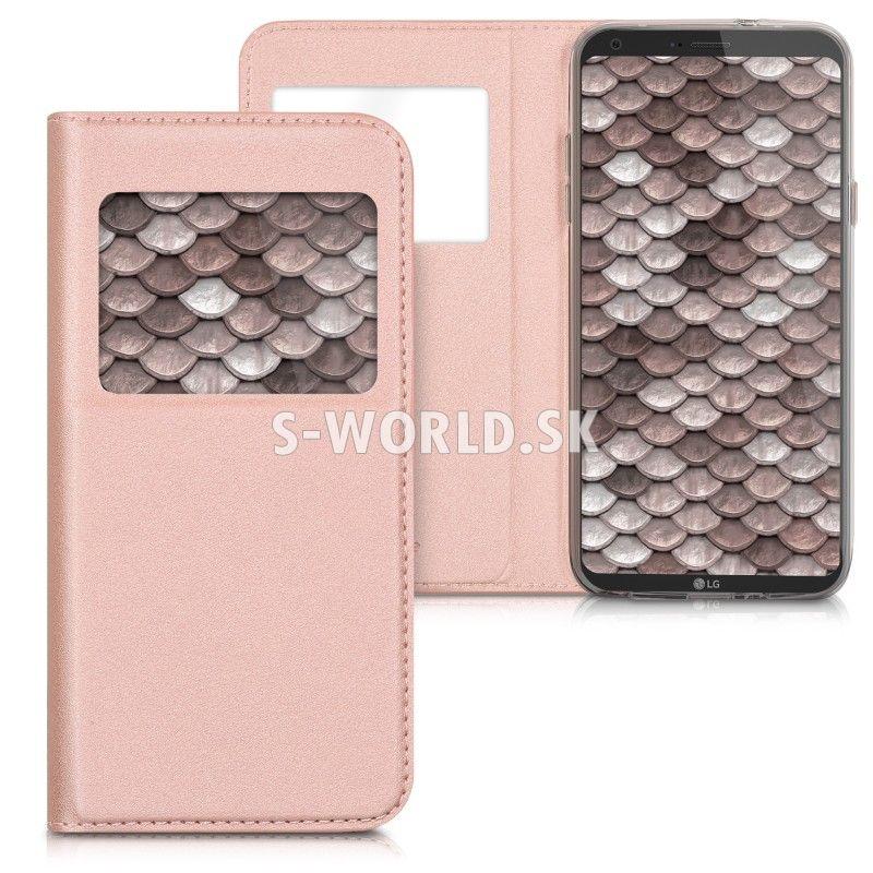 Kožený obal LG Q6 (M700) - Easy View - zlato-ružová  46a0745c2e8