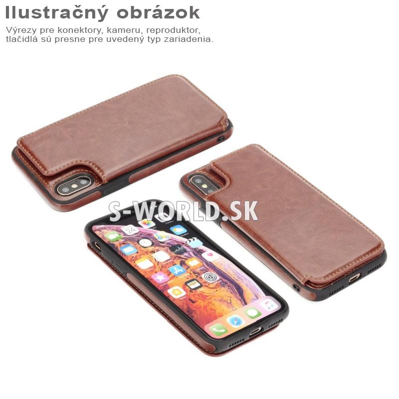 Kombinované puzdro Wallet case pre Apple iPhone X - hnedá 7eee4b585a4
