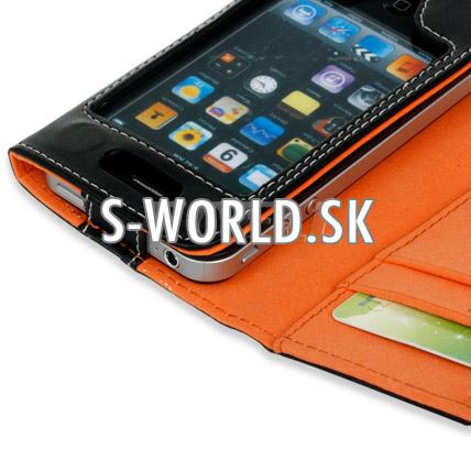 kožený obal iphone 4 wallet oranžova