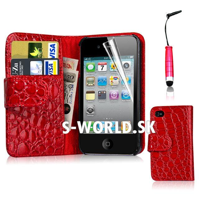 Kožený obal iPhone 4 - Croco Wallet červená  82c842949da